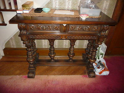Chesterfield Furniture Co Heavily Carved SERVER Side Table 2 Drawers