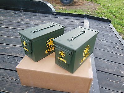 2..military Surplus . 50 Cal Ammo Cans Tool Box Hunting Camping Tent Stakes Army