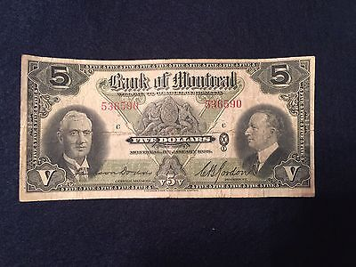 Canada, Bank of Montreal, 5 dollars : January 3, 1938  SN# 536590
