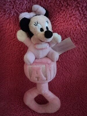 Vintage Disney Baby Minnie Mouse Pink Infant Baby Soft Plush Rattle Toy - Cute!