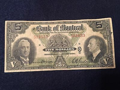 Canada, Bank of Montreal, 5 dollars : January 3, 1938  SN# 581653