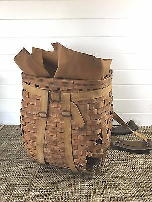 Rare Vtg 30's Ll Bean Adirondack  Creel Trapper Backet Backpack W /cover
