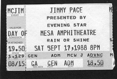 Original 1988 Jimmy Page of Led Zeppelin concert ticket stub Mesa Arizona
