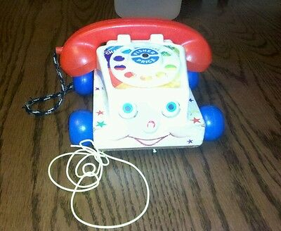 Vintage 1961 Fisher Price Chatter Phone Rotary Telephone Pull Toy Eyes Move #747