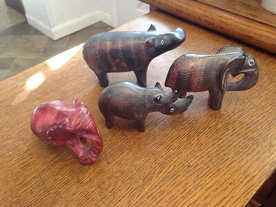 lot of 4 wild animal Figurines from Kenya Equator Africa Hand Carved