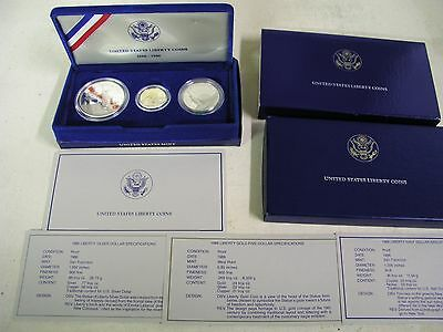 1986 United States  Liberty   Proof Coins $5 Gold, Silver Dollar And Half Dollar
