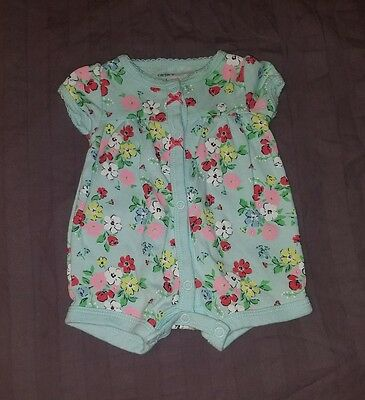 VGUC Carters Baby Girl Clothes NB Newborn One Piece Short Sleeve Flower Romper