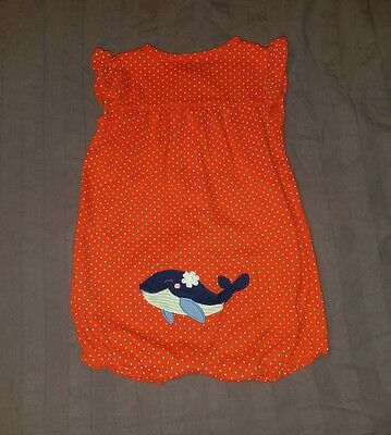 VGUC Carters Baby Girl Clothes 12 Months One Piece Short Sleeve Whale Romper