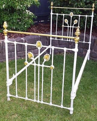 Single bed frame, antique, brass and cast iron