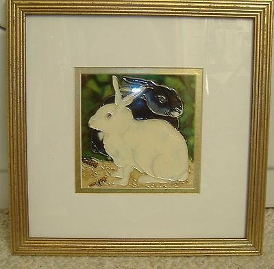 Ooak! Stained Glass Hand Crafted Bunny Rabbits Framed Picture- Must See!!