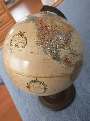 Vintage Replogle 12 inch Dia. World Globe: w/ Stand Classic series raised -used