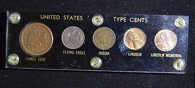 U.S. Cent Type Set in Capital Holder - Large Cent, Flying Eagle, Indian, Lincoln