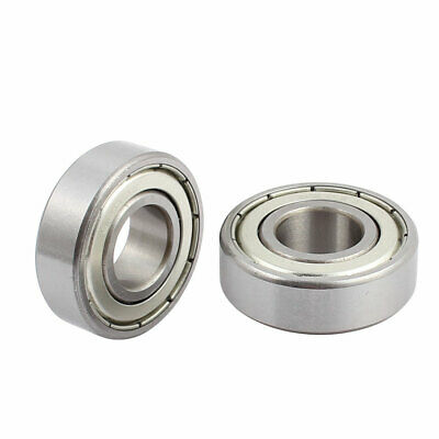 2pcs Metal Mute Deep Groove Sealed Shielded Ball Bearing Silver Tone 35x15x11mm