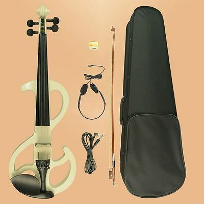 4/4 Wood Maple Electric Violin Cable Headphone Case For Beginners 8# WH
