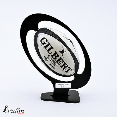 Rugby Ball Display Plinth with Inscription - BLACK