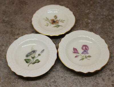 Royal Copenhagen Frijsenborg Butter Pat Plate Set of 3 Flower Gold Trim Denmark