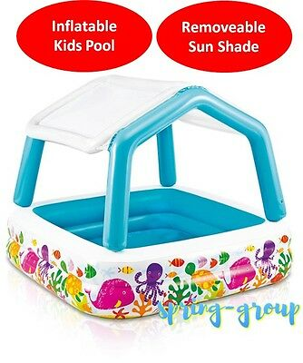 Inflatable Intex Swimming Pool Shaded with Sun Shade Canopy Kids Toddler Wading