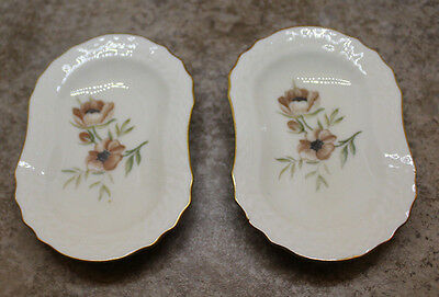 Royal Copenhagen Frijsenborg Ashtray Plate Set of 2 Flower Gold Trim Denmark