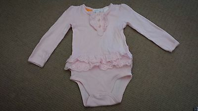 Baby girl Pumpkin Patch pale pink frilled long sleeved romper – Size 1 – EUC