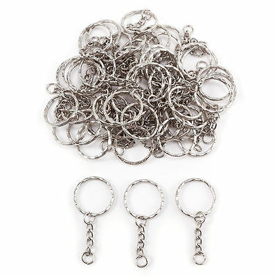 100pcs Silver Tone Findings Split Rings Keyring Blanks Key Chains With 4 Link