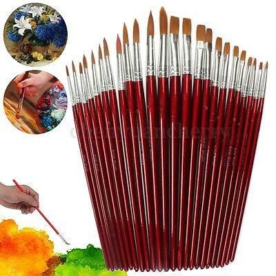 12 Artist Art Paint Pointed Brush Set Watercolor Acrylic Oil Drawing Pen Craft