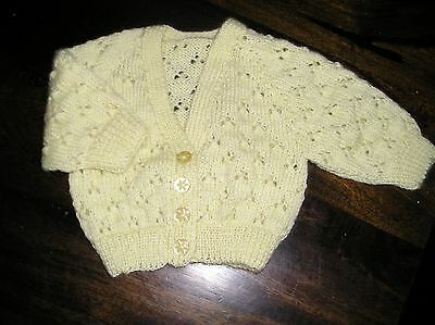 Baby's Lemon Handknitted Lace Cardigan. Size 000. New