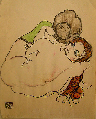 Egon Schiele Watercolor Drawing Signed Dated Bottom