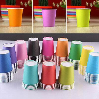 Disposable Paper Cups Solid Party Events Catering Food Tableware Drink HOT YX
