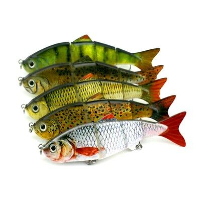 Life-like 4 Section Multi Jointed Fishing Lures Crank Baits Bass Swimbait 11.5cm