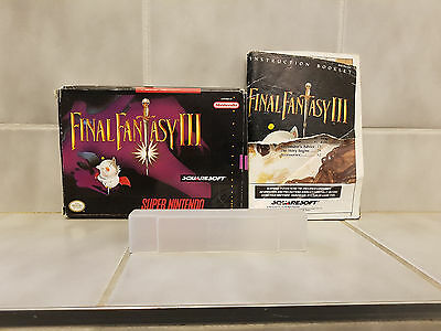 SNES Super Nintendo Final Fantasy 3 Game Box, Tray Manual And Dust Cover No Game