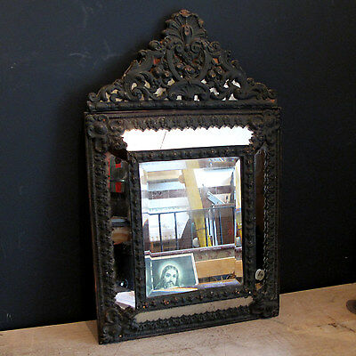 19th Century Rococo Mirror - Continental Tin Framed Bevelled Edge Wall Antique