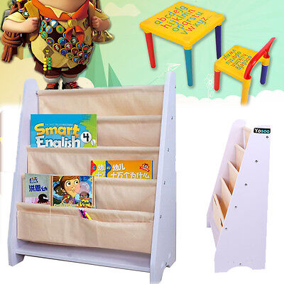 Kids Children Activity ABC Alphabet Learn Table & Chair /Canvas Bookcase Storage