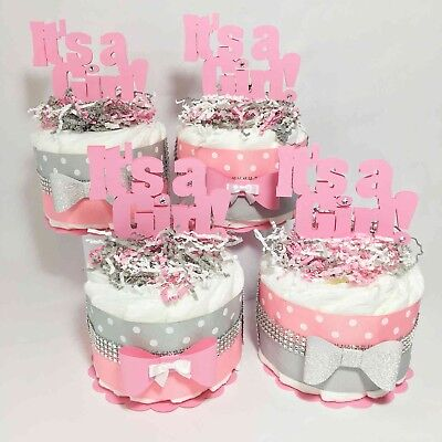 Pink and Gray It's A Girl 1-Tier Diaper Cake Centerpiece Set