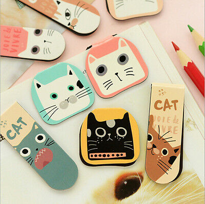 2Pcs Hot Clip Cute Office Paper Cchool Supplies Bookmarks Magnet Cat All Kinds