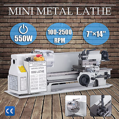 "7"" x 14""Mini Metal Lathe Machine 550W Variable Speed w/ Heat-Treated Lathe Bed"