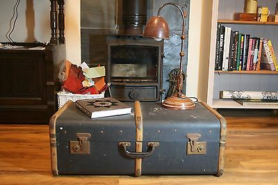 Vintage Retro Canvas & Wooden 3 Band Steamer Trunk Storage Chest Coffee Table