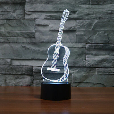 7 Colors Guitar 3D Visual LED Night Light for Kids Baby Sleeping Lamp Home Decor