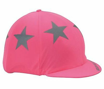 New Shires Equi-Flector Bright Pink Reflective Hat Cover / Silk + Stars!