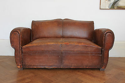 Vintage Antique French Leather Club Sofa
