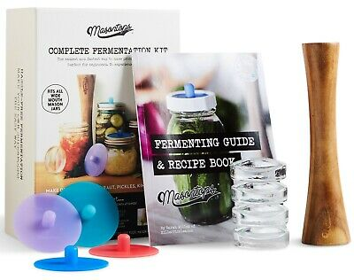 Masontops Complete Mason Jar Fermentation Kit - Weights, Pounder, Airlocks