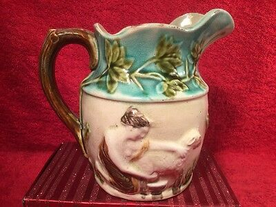 Antique French Majolica Maidens Milking Pitcher c.1800's, fm1188