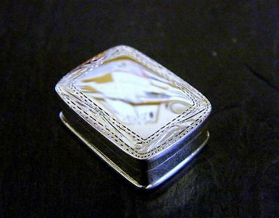 Solid Sterling Silver Pill Snuff Trinket Box Rectangular Shaped Engraved 11g