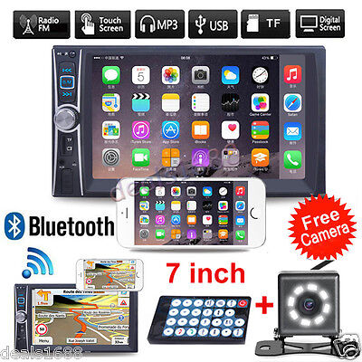 """7"""" HD Touch Bluetooth Car Stereo GPS 2 DIN Audio MP3 MP5 Player Radio FM +Camera"""