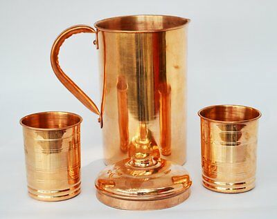 Vintage Drinking Set 2Pc Water Glasses 1Pc Copper Pitcher Jug The Great Ayurveda