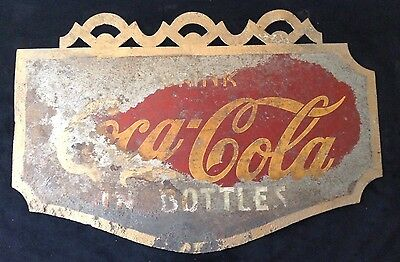 Vintage Original Coca Cola Sign Metal Advertising Double Sided Ornate Display