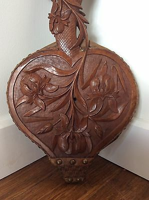Ornate Antique CHINESE Export Carved Wooden BELLOWS for Fire Fireplace, as found