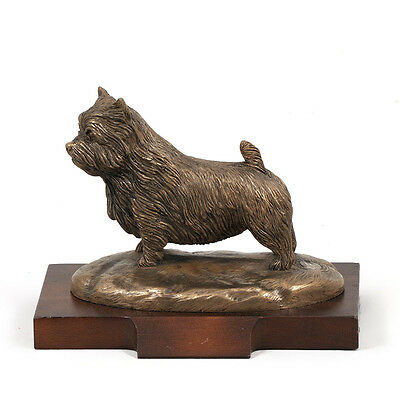 Norwich Terrier, dog bust/statue on wooden base, ArtDog Limited Edition, CA