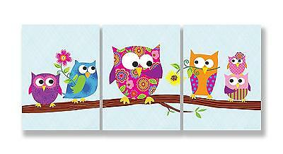 Owls On A Branch Plaque Wall Decor Nursery Kids Bedroom 3 Piece Set Gift New
