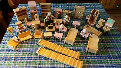 Wooden Dolls House Furniture Bundle Set Job Lot 3 Figures + Stairs Good Conditio