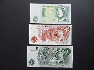 3 BANK OF ENGLAND BANKNOTES - 10/- SHILLING NOTE &  2 x £1 POUND NOTES